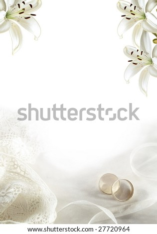 White wedding greeting blank with two rings or bands and lilies