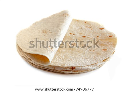 White wheat flour tortillas isolated on white background