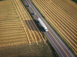 White 18 wheeler semi truck aerial view