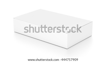 White wide flat horizontal rectangle blank box from top side angle. 3D illustration isolated on white background.