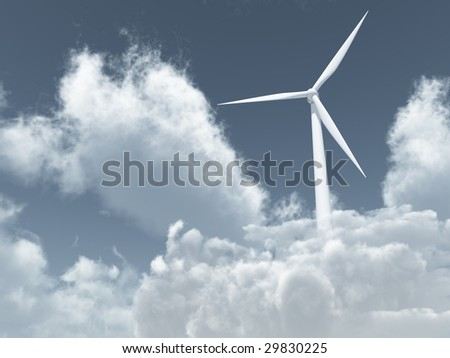 white wind turbine in cloudy sky - 3d illustration - stock photo