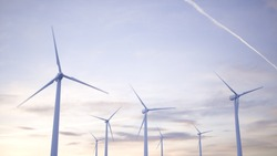 White wind turbines Generating electricity