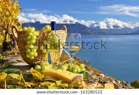 White wine and basket of grapes. Lavaux region, Switzerland