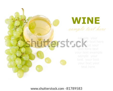 White wine and grapes isolated on white with sample text