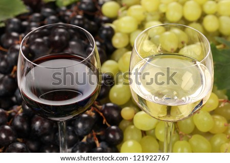 White wine and red wine in glasses with grapes in the background