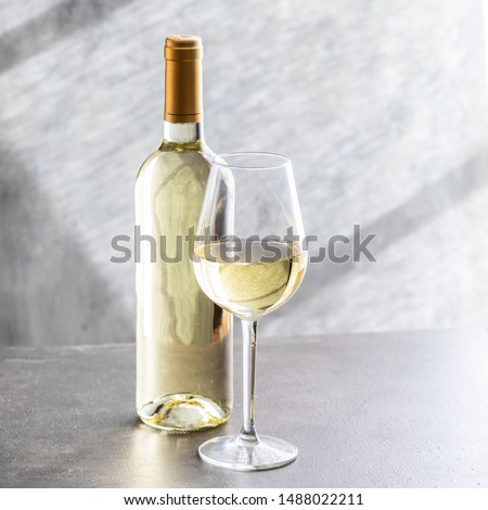 White wine bottle and wine glass on grey concrete background. Wine making and wine degustation concept. Foto stock ©