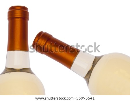 White Wine Bottle Border Isolated on White with a Clipping Path.