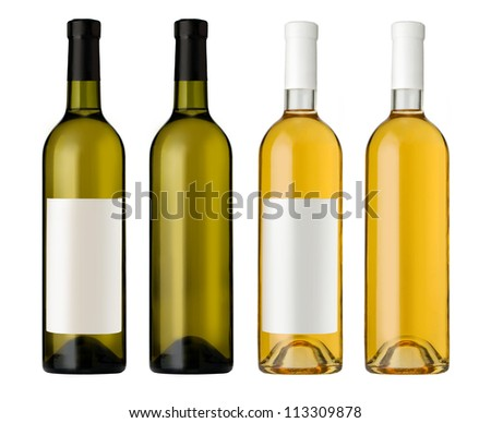 White wine bottle in clear glass bottle with blank label and no label on white background