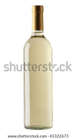White wine bottle isolated over white background
