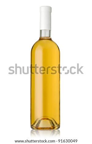 white wine bottles on white background