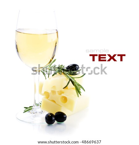 White wine, cheese and black olives on white background (with sample text)