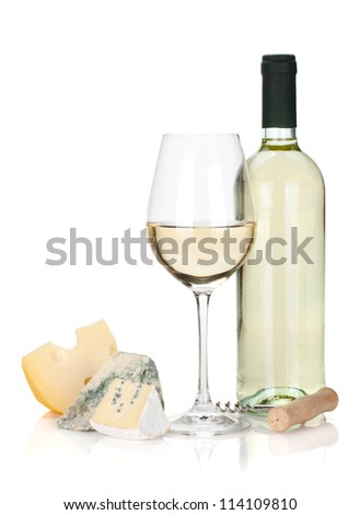 White wine, cheese and corkscrew. Isolated on white background