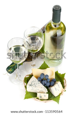 White wine, cheese and grape. View from above. Isolated on white background