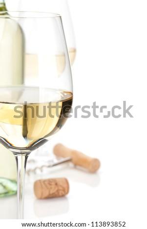 White wine closeup. Isolated on white background