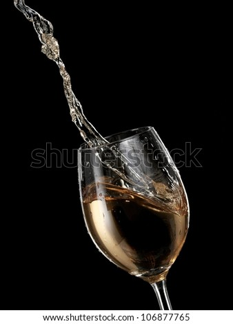 White wine flow in a glass