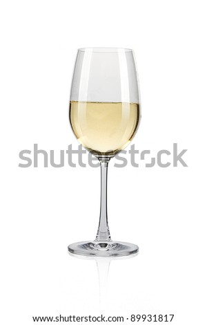 White wine glass against a white background