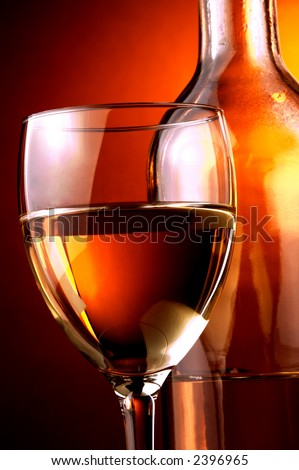white wine , glass and bottle