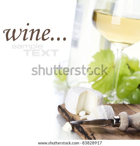 white wine, grape and cheese over white (with sample text)