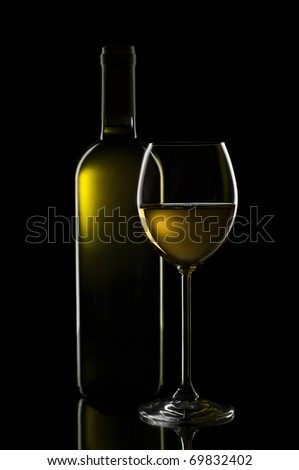 White wine in glass on black background close up
