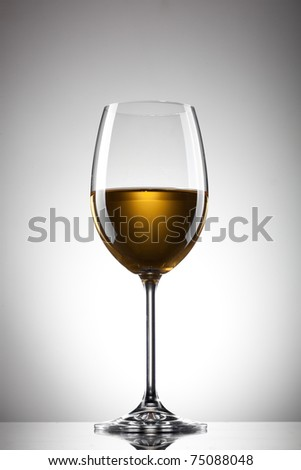 White wine in the glass on white