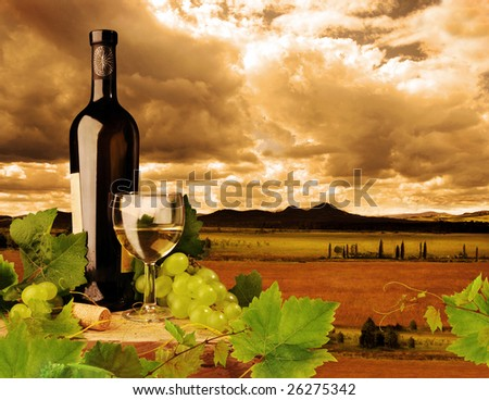 White wine on background of sunset landscape