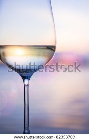 white wine on the sky background with clouds
