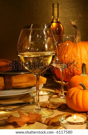 White wine on the table at Thanksgiving