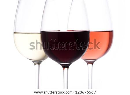 white wine, rose,  red wine - stock photo