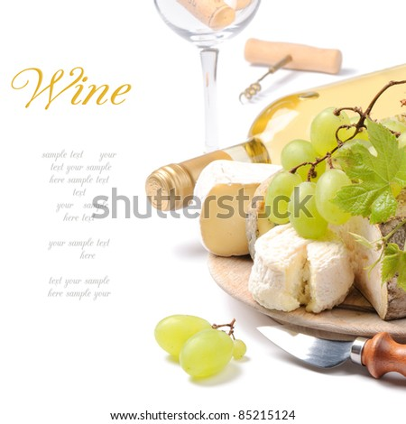 White wine with French cheese selection