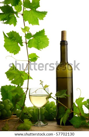 White wine with grapes and grapevine, isolated on white background