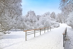 white winter forest wonderland during snowfall panoramic landscape in city park with snow path bridge across frozen river against blue sky nature day background view christmas new year eve scene
