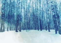 White winter trees in the park under snowfall, photomanipulation.