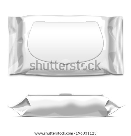White wipes with flap plastic package isolated on white background Ready for your design Packaging collection