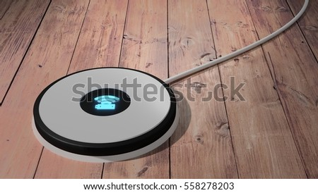 White wireless charging pad for mobile phone and tablet with blue glowing icon on a wooden table 3D illustration