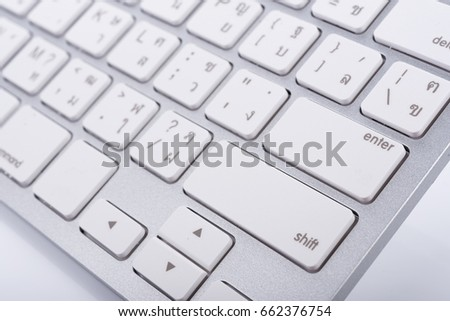 White wireless keyboard top view with keys #662376754