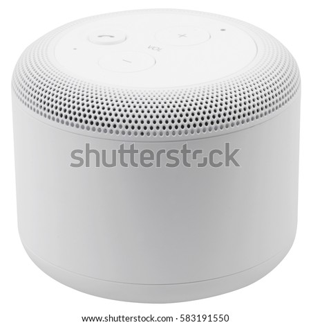 White wireless portable bluetooth speaker, isolated on white background. #583191550