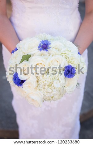 White with Blue Bridal Bouquet