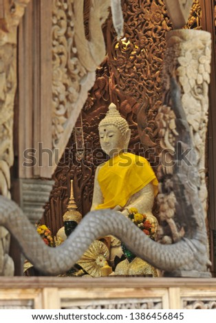 Naga Teak Wood Carving Sculptures In Thai Temple Images And Stock