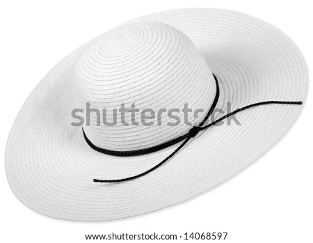 White woman big hat on white background