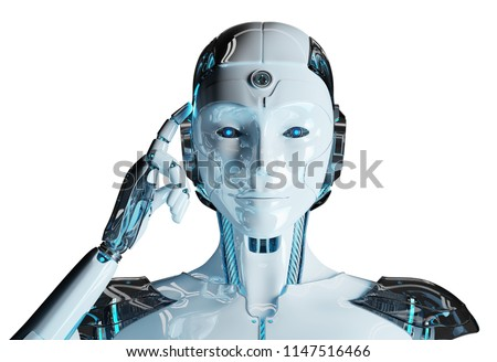 White woman cyborg thinking and touching her head isolated on white background 3D rendering ストックフォト ©