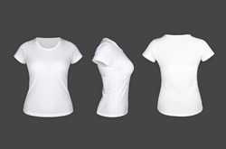 White woman t shirt template on the grey background ( front view, sideways, behind )