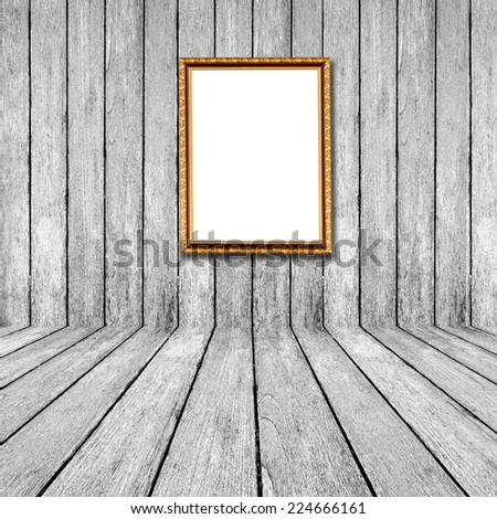White wood perspective background with frame photo in room interior.