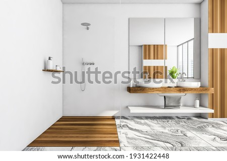 White wooden bathroom with glass shower and two washbasins. Minimalist design of modern bathroom with marble floor, 3D rendering no people