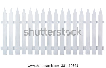 White wooden country style fence isolated on white background. Object with clipping path. #381110593