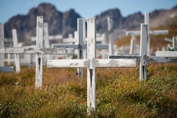 White wooden crosses in cemetary at Tasiilaq, Sermersooq, East Greenland