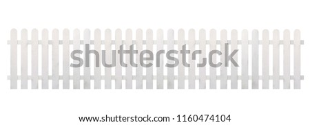White wooden fence isolated on white background with clipping path   #1160474104