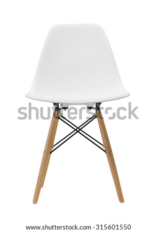 White wooden leg chairs isolated on white background #315601550