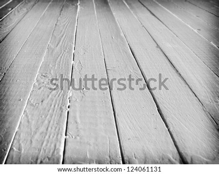 White wooden plank. Perspective view. Selective focus