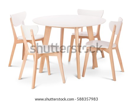 White wooden round dining table with four chairs. Modern designer, dining table and chairs isolated on white background. Series of furniture. #588357983