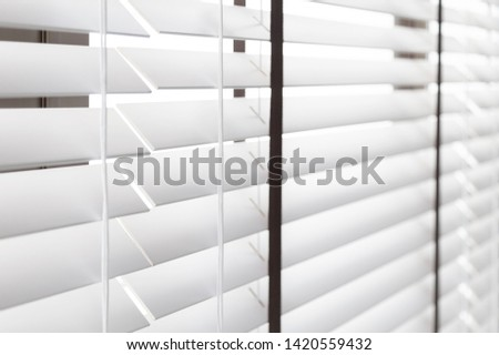 White Wooden shutters blinds (Windows blinds) #1420559432